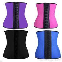 Wholesale Pink Purple Blue Waist Shapers - Waist Trainer 9 Steel Boned Waist Cincher Hot Shapers Corsets Body Shapers Waist Trimmer Belt Shapewear Corset b475