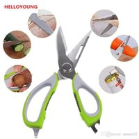 Wholesale Stainless Steel Fishing Knives - D099 kitchen scissors knife for fish chicken household stainless steel multifunction cutter shears cooking tools