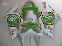 7 presentes !!! Kits de carenagem para KAWASAKI Ninja ZX6R 03 04 ZX 6R 2003 2004 ZX-6R 636 Branco verde ABS estojo kit corpo SD95