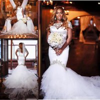 Discount short lace wedding dresses jacket - Modest African Mermaid Wedding Dresses With Beaded Jacket 2017 Sweetheart Chapel Train Vestidos De Novia Garden Bridal Gowns Customized