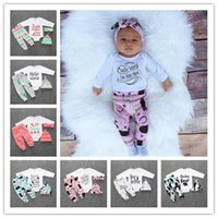Wholesale Baby Chrismas Hats - New letter baby chrismas clothing sets infant cotton baby clothes 4pcs long sleeve newborn rompers+pants+hat+headband clothing sets