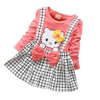 Wholesale Dress For Girl Kitty - Children's cartoon kitty baby girls dress plaid dress strap dress casual fashion clothing for girls baby clothes free shipping
