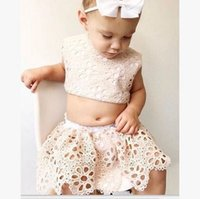 Wholesale Cute Waist Skirts - Baby lace sets fashion baby girls floral embroidery high waist tank top+hollow flowers skirt 2pc clothing sets baby princess outfits T3548