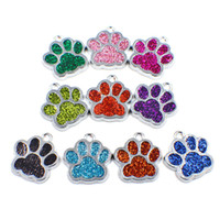Wholesale Bling Bears - 50pcs HC358 Bling Enamel Cat Dog Bear Paw Prints hang pendant fit Rotating Key Chain Keyrings bag Jewelry Making