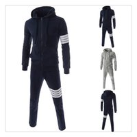 Wholesale Tracksuit for Men Autumn winter Hoodies pants Brand Hit Color Ribbon Stitching Men s High Quality Sports Tracksuits US Size XS XL