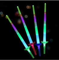 Wholesale Telescopic Light Stick - Four part telescopic glow stick luminous Children Toys Concert Party supplies Colorful fluorescent wand luminous light sticks KKA2304