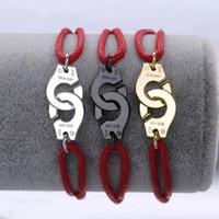 rote hochzeit armbänder großhandel-Berühmte Marke Schmuck 925 Sterling Silber Rot Seil Handschellen Armband Für Frauen Silber Charme Hochzeit Armband Menottes Einstellbar
