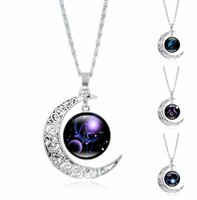 Wholesale twelve south wholesale - New 12 Zodiac Signs Necklaces Retro Twelve Constellations Cabochon Glass Time Gem Moon Pendant Necklaces Free Shipping