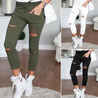 Wholesale Leggings Slim Thighs - Wholesale- autumn women's high Legging elastic Slim was thin Leggings calf thigh hole trousers 2017 fashion new style B1