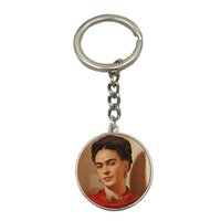 Wholesale Vintage Car Glass - Vintage Frida Kahlo Silver Keychain Women Jewelry Frida Kahlo Silver Car Key Chain Christmas Gifts Free Shipping NS30