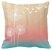 Wholesale Cushion Wood - Pillow Case,Dandelions Blow Into Birds Wood Pink Teal Outdoor Square Sofa and Car Cushions Cover (16inch,18inch,20inch)