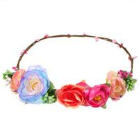 Wholesale big wedding hair for sale - Women and Children Headwear Big Tea Rose Flower Hairbands Hair Accessories For Bride Wedding Headdress