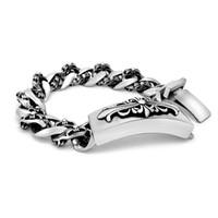 Wholesale Titanium Single Bracelet - Europe and the United States retro single licensing cross flowers men titanium steel bracelet personalized pattern bracelet tide men accesso