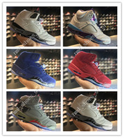 Wholesale Rubber Cement Plastic - Hot High Quality Retro 5 V Raging Bull Red Suede Tongue Reflect mens Basketball Shoes Retros 5s Hornets White Cement 3M Camo Sneakers Shoes