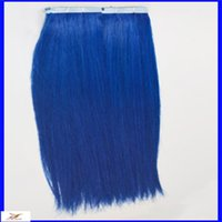 Wholesale 10 quot Strong Blue Glue Tape In Hair Extension Brazilian Virgin Straight Hair g Cheap Tape In Human Remy Hair