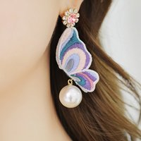 Wholesale embroidery earrings - 3D Embroidery Butterfly Crystal Dangle Earrings with pearl for girls and woman Sweet Silver Plated ER780