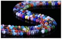 pulseras hechas cadena al por mayor-VENTA CALIENTE 7 tamaños multicolor ojo de gato suelta perlas de vidrio redondo cadena PARA COLLAR PULSER DIY FABRICACIÓN DE JOYERÍA