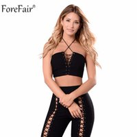 All'ingrosso-ForeFair Nero Due Pezzi Trend Criss-Cross Jumpsuits senza spalline Pantaloni lunghi Body Lace-Up Sexy Skinny Jumpsuit