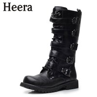 Wholesale Men Punk Boots Buckle - Wholesale-2015 Men's Winter New High Help Tide Martin Punk Rock Cowboy Boots Tall Boots England Size 38-45