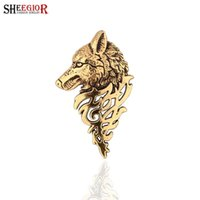 Wholesale Vintage Gold Pins Brooches - Vintage Wolf Head Men's Brooch Lapel Pins Lovely Gold Silver color Collar Brooches for Women Broches Jewelry Fashion Accessories