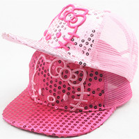 Wholesale Hello Kity Kids - Lovely Baby Sequins Snapback Cap Cat Ear Hello Kity Mesh Kid Baseball Caps Chapeu Gorras Casquette Hats Children HipHop Cap