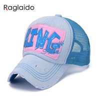 Wholesale Dodger Hats - Wholesale- 2016 Summer Sun Hats Net Caps 6 Colors Baseball Caps Adjustable chapeu feminino Embroidered dodgers snapback LQJ01115