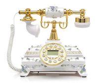 Wholesale antique style telephones - European style retro landline telephone home wireless fixed classical telephone antique wood Landline