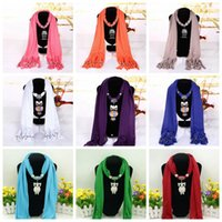 Wholesale pendant scarfs - Owl Pendant Tassel Scarf Women Warm Polyester Scarves Alloy Pendant Necklace Scarves Shawl Wraps Fashion Accessories 36 Styles OOA3248