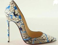 Wholesale Snake Print Dresses - Women High Heels Snake Printed Shoes Pumps Lady Sexy Pointed Toe Wedding Shoes 8CM 10Ced Toe Red Sole 8cm 10cm 12cm with logo no include box