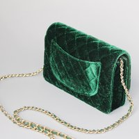 Wholesale Wholesale Patchwork Leather Handbags - 2017 brand mini size corduroy caviar flap bag for women plaid handbag vintage for dinner green and brown shoulder&crossbody bags