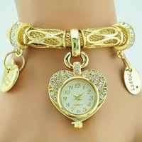 Wholesale Rope Belted Dress - Fashion luxury Gold Diamond women watch Alloy metal mesh belts bracelet watch heart love pendant rope chain dress quartz watches