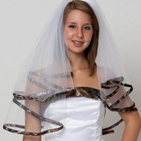 Wholesale Camouflage Hair - Elegant Camo Short Bridal Veils Elbow Length Camo Ribbon Edge Wedding Veils Hair Pieces For Brides Camouflage Tulle Cheap Bridal veil