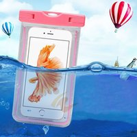 Wholesale Transparent Pouch Cell - Camouflage Waterproof Bag LED Light Case armband pouch Case Cover For iphone 7 8plus case Samsung Galaxy S7 edge s8 plus all Cell Phone
