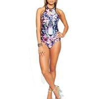 Wholesale White Tiger One Piece - 2017Hot Sexy Tiger Print One Piece Swimsuit High Waist Swimwear Women Bodysuit Halter Top Bathing Suits Monokinis Floral Beach Wear