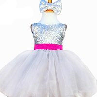 Wholesale baby knee cap for sale - Girl Dresses Children Dresses Kids Wedding Party Dress Baby Girls Dresses with Big Bow Sequins Clothing for Size Years