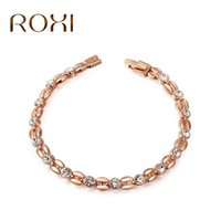 Wholesale Tin Rose Jewelry Box - High Quality New Arrival Western Style Jewelry Wholesale Rose Gold Plated Grain Diamond Crystal Bracelet Exclusive Female Birthday Gifts