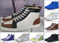 Wholesale Leopard Leather For Sale - High Top Men Women Shoes Red Bottom Sneakers Luxury Party Shoes Genuine Leather Suede Leopard Lace-up Casual Shoes For Sale