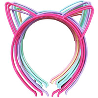 12pcs ABS Plastic Girls Cat Ears Headband Printemps Couleurs Girls Hairband Head Band Baby Enfants Accessoires