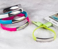 Wholesale Flat Wrist - Wholesale 100pcs lot Short Flat Bracelet Wrist Band Magnetic USB cable Wrist Band 2.0 Sync Data Charger cable for android smartphone