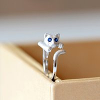 Real Pure 925 Sterling Silver Ring Mode réglable Lovely Kitty Cat avec Blue Eyes Ring Femmes Déclaration Bijoux Cadeau Finger Open Rings