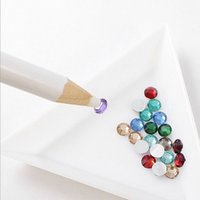 Wholesale Pen Pencil Rhinestone - 100pcs White Wooden Drill Point Pen For Rhinestones 8.8cm Professional Dotting Pencils For Nail Art Rhinestones Gems Picking Tools