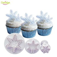Wholesale Snowflakes Cake Mold Silicone - 3 pcs set Snowflake Cookie Mold Plunger Snow Shape Cookie Cutter DIY Baking Snow Flower Cake Fondant decoration Biscuit Tool