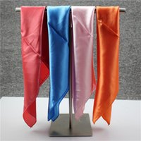 Wholesale Silk Square Neck Scarves - Wholesale-Size 50*50cm Candy Colors Square Silk Scarf Women'S Scarf Fashion Polyester Ladies Shawls And Designer Scarves Woman Neck Tie