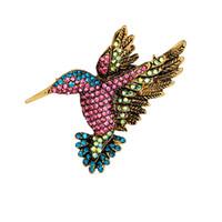 Wholesale Colorful Alloy Bird - New Fashion Women Delicate Little Rhinestone & Crystal bird Brooch for women Colorful Full Crystal Animal bird Brooches
