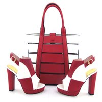 Wholesale Party Shoes For Ladies - Nigeria Style Summer New PU Leather Shoes And Bag Set Fashion Sexy Ladies Pumps Shoes And Bag Set For Party Wholesale Size 38-43