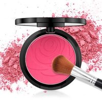 hornear impresión al por mayor-Rose Flower Print Matte Blush Palette Beautiful Baking Blush Powder paleta de maquillaje para maquillaje desnudo Single Color Blush Palette Long lasting