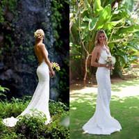 Wholesale Slim Mermaid Wedding Dresses - New Arrival Sexy Mermaid Backless Wedding Dresses 2017 Lace Open Back V-Neck Off the Shoulder Slim Simple Beach Bridal Gown vestido de noiva