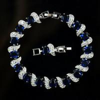 ingrosso bracciale ovale in zaffiro-Di alta qualità più nuovo stile 18k placcato oro bianco colorato zaffiro blu ovale CZ zirconia pietra preziosa donne braccialetti tennis con estensione