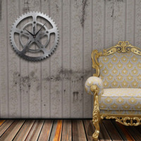 Wholesale Digital Clocks Wheels - Metal Texture Gear Wheel Wall Clock Fashion European Vintage 3D Original Large Wall Clock Quiet Clock Non-ticking Wall Clocks
