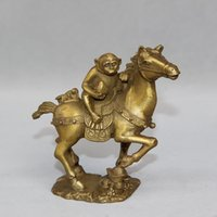 Wholesale Collectible Horse Statues - China brass sculpture carved copper Feng Shui lucky monkey on horse Statue home decoration